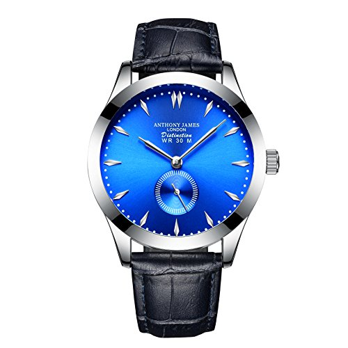 ANTHONY JAMES OF LONDON DISTINCTION - Stylish Blue Men's Designer Luxury Dress Watch - Genuine Leather Strap For Men - Silver Durable Case - 5 Year Warranty - 90 Day Returns - Sale