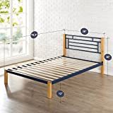 Zinus Taylan Metal and Wood Platform Bed / Mattress Foundation / Wood Slat Support, Twin
