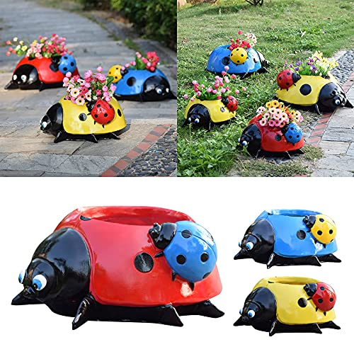 Ymibull Garden Sketches Simulation Animal Ladybugs Flower Pot Garden Decoration, Metal Ladybug Garden Decorations, Colorful Decorative Outdoor Garden Yard Lawn Decor (Yellow)