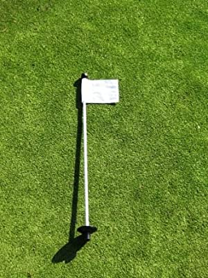 """Golf - Putting Green - (1) 30"""" Practice Green Pin Marker w/ Easy Grab Knob and Ball Lifter Disk + (1) Solid WHITE Colored Jr Flag Included"""