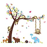 Best Wall Stickers For Babies - ElecMotive Cartoon Forest Animal Monkey Owls Hedgehog Tree Review