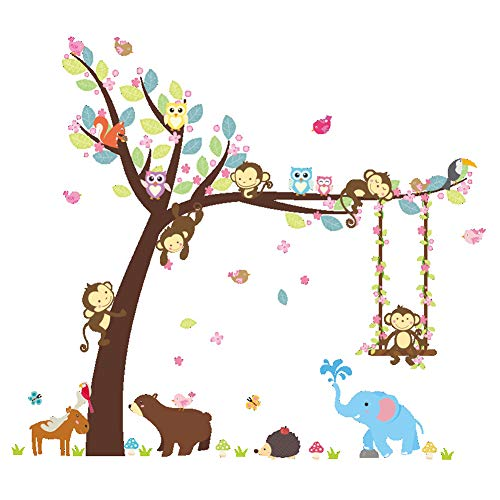 (ElecMotive Cartoon Forest Animal Monkey Owls Hedgehog Tree Swing Nursery Stickers Murals DIY Posters Vinyl Removable Art Wall Decals for Kids Girls Room Decoration (Bear Elephant) )
