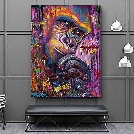 YuanMinglu Pintura sin Marco Arte Mono Gorila Animal Graffiti Abstracto Lienzo Arte Sala de Estar Mural decoración Moderna 60X80CM