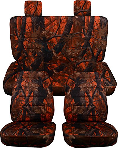 Rear Solid Full Door - Totally Covers Fits 2007-2010 Jeep Wrangler JK Camo Seat Covers: Orange Real Tree Camouflage - Full Set: Front & Rear (19 Prints) 2008 2009 2-Door/4-Door Complete Back Solid/Split Bench