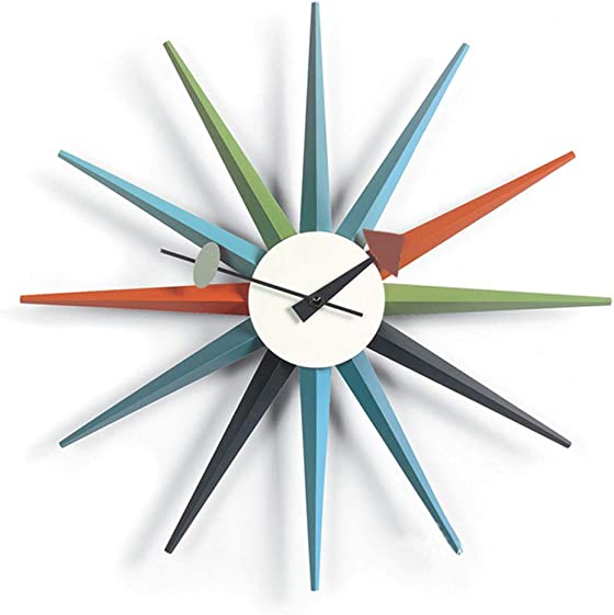 Tiandihe DIY Sunburst Mid Century Wall Clock Silent Battery Operated Non Ticking 18 inches Wood Large Colourful Sunlight Quartz Clocks Modern Decorative Living Room Office
