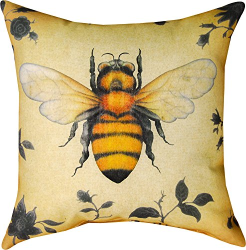 Manual Woodworkers & Weavers Indoor/Outdoor Climaweave Throw Pillow,  Insects Bee, 18