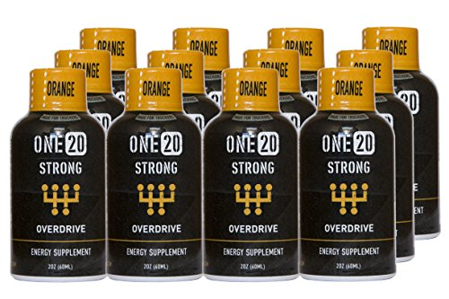 ONE20 Strong Energy Shot Zero Sugar and Calorie Energy Drink, Orange Overdrive (12 count, 2 oz Bottles)