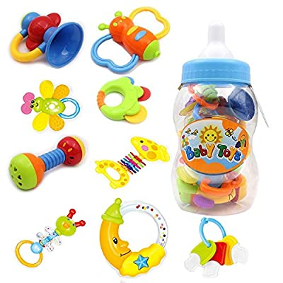 Baby's First Rattle and Teether Toy 9 Pieces with Giant Baby Bottle Coin Bank Gift Sets- Colors May Vary