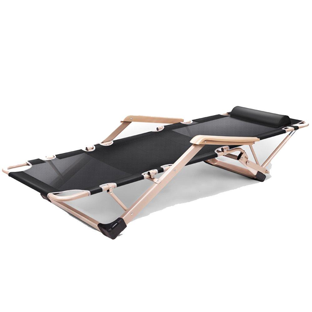 XXHDYR Folding Blätter  Herrenchen Büro Lounge Stuhl Mittagspause Siesta Stuhl Erwachsenen Begleitenden Einfachen Tragbaren Camping Bett Klappstuhl (Farbe : SCHWARZ, größe : No Cushions)