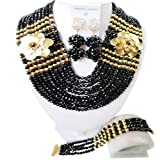 laanc 10 Layers Fashion Women Necklace Earring Nigerian African Wedding Crystal Beads Bridal Jewelry Sets