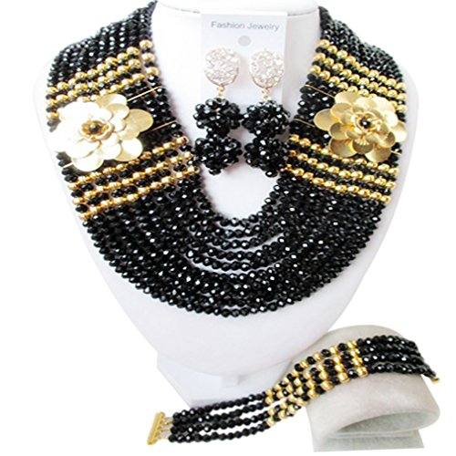 laanc 10 Layers Fashion Women Necklace Earring Nigerian African Wedding Crystal Beads Bridal Jewelry Sets by laanc