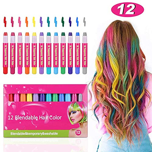 Kids Hair Chalk Pens- Tiaoyeer 12 Colors Temporary Hair Chalk Salon, Non-Toxic Washable Hair Dye Colors for Halloween Christmas Birthday Party, Cosplay, Concert, Safe for Kids & Adults (Hair Dye Sealer)