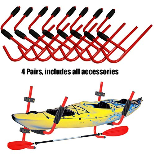 XFMT 4 Pairs Kayak Ladder Wall Mount Storage Rack Bike Surfboard Canoe Folding Hanger 100LBs SUP Paddleboard Snowboard Surfboard Wakeboard Wall Cradle Hanger Hook Wall Mount Storage Rack Shelf