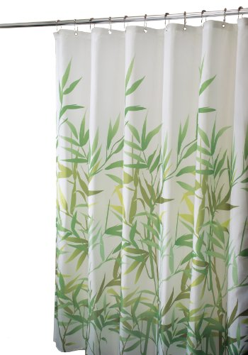 InterDesign Anzu Fabric Shower Curtain - Stall, 72' Inches x 72' Inches, Green
