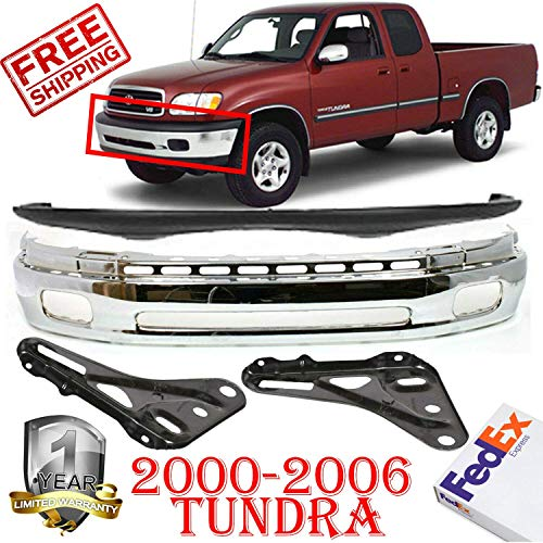 (Front Bumper for 2000-2006 Toyota Tundra Mount Base/Limited/SR5 Left Hand Side & Right Hand Side Upper Textured & Lower Chrome Mounting Bracket Set of 4 TO1002170 TO1000198 TO1067127 TO1066127)