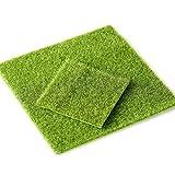 Dofover 2pc Life-like Fairy Artificial Grass Mat Indoor Outdoor Green Synthetic 12''x12'' Miniature Ornament Garden Dollhouse
