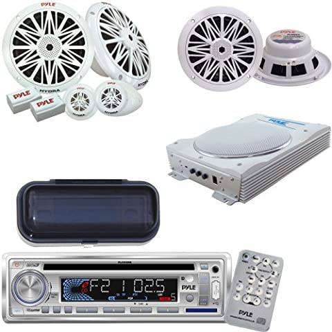 Pyle Marine Radio Receiver, Speaker and Amplified Subwoofer System Package - PLCD3MR AM/FM-MPX IN -Dash Marine CD/MP3 Player/USB & SD Card Function - PLMRCW1 White Water Resistant Radio Shield - PLMR62 200 Watts 6.5'' 2 Way White Marine Speakers - PLMR6K 200 Watts 6.5'' 2-Way Marine Component System - PLMRBS8 8-Inch Low-Profile Super Slim Active Amplified Marine/Waterproof Subwoofer - Pyle Plmr6k Marine