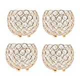 MagiDeal 4pcs 10cm Crystal Beads Candle Holder Banquet Party Table Centerpieces Golden