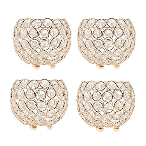 MagiDeal 4pcs 10cm Crystal Beads Candle Holder Banquet Party Table Centerpieces Golden by Unknown