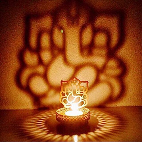 Hashcart Shadow Ganesh Ji Tea Light Candle Holder For Home Decor (Shadow And Light Candle)