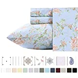 400 Thread Count 100% Cotton Sheets in Antique Rose Printed Queen Size Set, 4-Piece Long-staple Combed Cotton Best Sheets For Bed, Breathable, Sateen Weave Fits Mattress Upto 18'' Deep Pocket