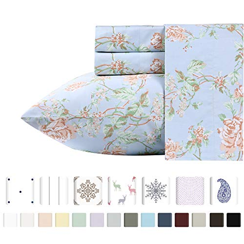 Luxury 400-Thread-Count 100% Pure Natural Cotton Sheet Sets - 4-Piece Light Blue Floral Antique Rose Full Sheet Set Long-Staple Premium Cotton Yarns Hotel Quality Fits Mattress Upto 18'' Deep ()