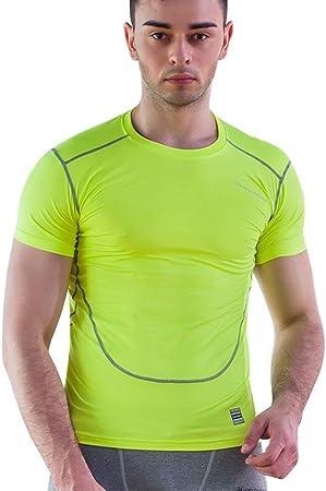 Camisa ajustada de compresión para hombre. Camiseta de manga corta de secado rápido de compresión para hombres para ciclismo, entrenamiento, ejercicios, ejercicio 3 colores Ejecutar Baselayer: Amazon.es: Hogar
