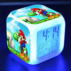 PampasSK Action & Toy Figures - Super Mario Bros Anime Figure Juguetes Alarm Clock PVC Colorful Touch Light Super Mario Yoshi Game Character Toys for Kids 1 PCs