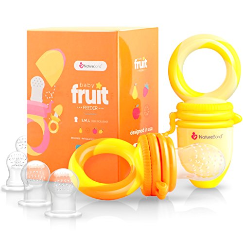 NatureBond Baby Food Feeder/Fruit Feeder Pacifier (2 Pack) - Infant Teething Toy Teether in Appetite Stimulating Colors | Bonus Includes All Sizes Silicone Sacs (Sunshine Orange and Lemonade -