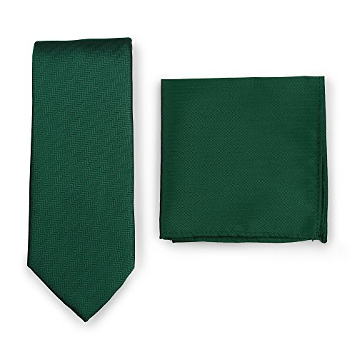 - Bows-N-Ties Men's Solid Necktie and Pocket Square Set Matte Herringbone Finish (Hunter Green)