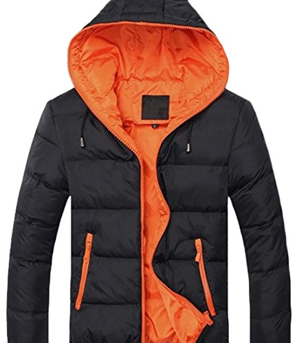 Fulok Hoodie Slim Warm Mens Zipper Winter Fit Casual Jacket Black Coat Parka rqT7rwxI