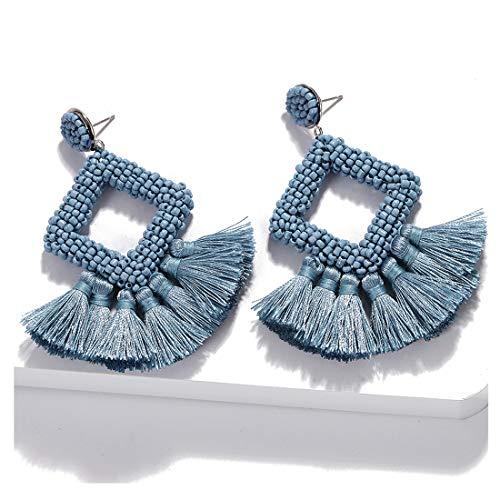 Dvacaman Hoop Tassel Earrings for Women - Statement Handmade Beaded Fringe Dangle Earrings, Idea Gift for Mom, Sister and Friend (Grey Blue)