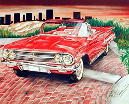 Amazon cadillac vintage red lowrider classic car wall decor cadillac vintage red lowrider classic car wall decor picture art print 8x10 teraionfo