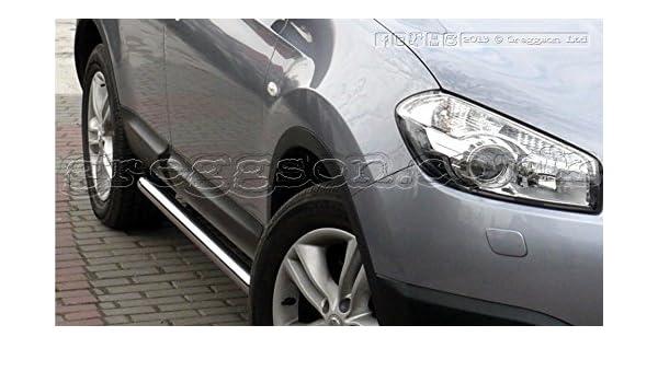 Nissan Qashqai + 2 barras laterales de acero inoxidable 2014: Amazon.es: Coche y moto
