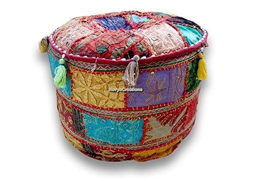NANDNANDINI -Bohemian Patch Work Pouf Ottoman,Traditional Vintage Indian Pouf Floor Stool Foot Stool, Christmas Decorative Chiar Ottoman Cover,100 Cotton Art Decor Cushion Cover Pouf