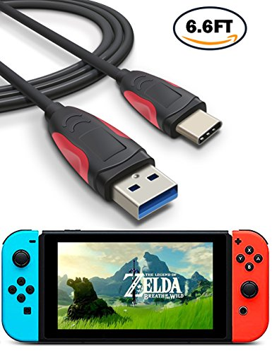 Nintendo Switch Charging Cable, USB C to USB 3.0 Cable, TITACUTE 6.6FT Fast Charge Cable Durable Braided Cords Sync Cable Reversible Charger Cable for Switch Nexus 5X 6P LG V20 G6 BLU R1 HD Black