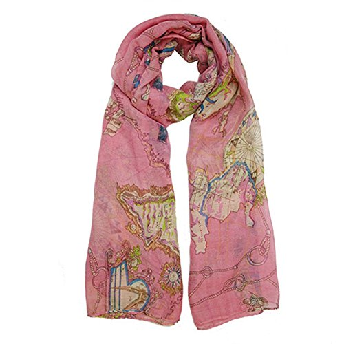 Pepp womens or girls global world map scarf pink apparel in pepp womens or girls global world map scarf pink gumiabroncs Gallery