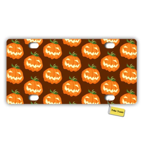 Tobe Yours License Plate Cover Pumpkin Face Thriller Halloween Pumpkin Lights Design Printed Auto Truck Car Front Tag Metal License Plate Frame Cover 6