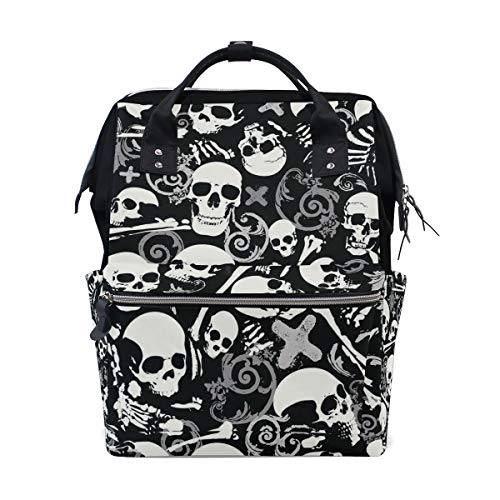 (HangWang Diaper Bags White Skull Fashion Mummy Backpack Multi Functions Large Capacity Nappy Bag Nursing Bag for Baby Care for Traveling)