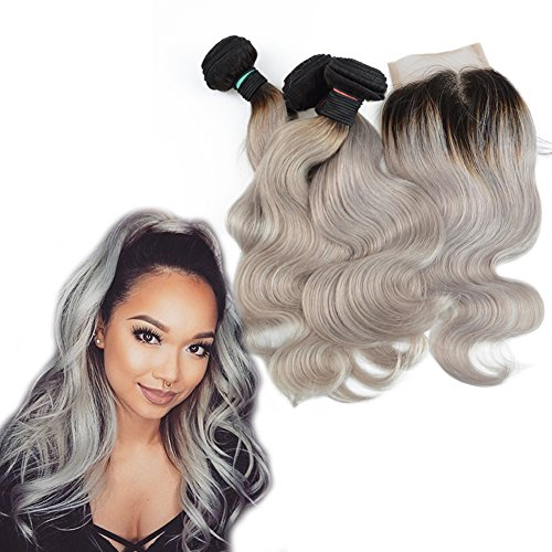 Dingli Hair Blonde Ombre T1B/Grey Brazilian Virgin Hair Body Wave 3 Bundles Mixed Length with 1 Piece Free Part Lace Closure (16 18 20 + 16 inch (Free 20 Piece)