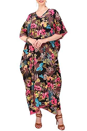 Manquer Les Femmes Somptueuses Londres Caftan Tunique Style Kimono, Plus Maxi Taille Pour Des Vacances De Détente Et Vêtements De Nuit Robes De Tous Les Jours # 124130 125 Noir