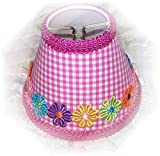 Bright Pink & White Checks With or Without Colorful Applique Daisy's Gingham MINI Clip On Shade