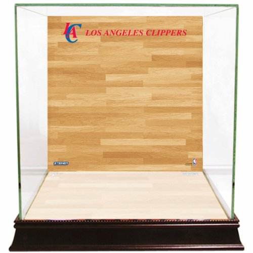 Los Angeles Clippers Glass - NBA Los Angeles Clippers Glass Basketball Display Case with Team Logo on Court Background