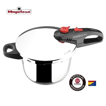 M MAGEFESA Qualix Olla a presión super rápida, fácil uso, acero inoxidable, apta inducción. Fondo termo difusor 5 capas 6L