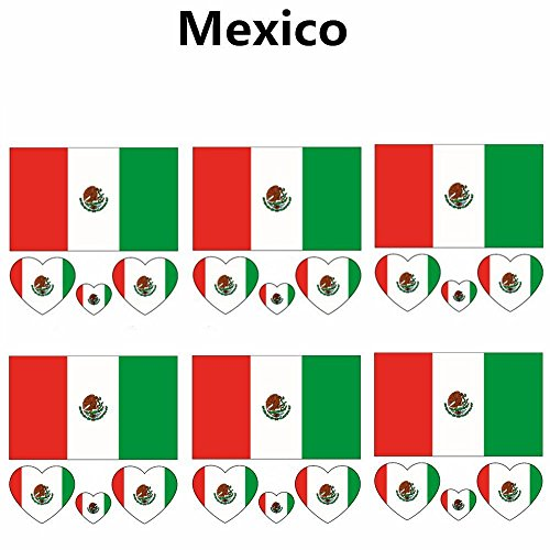 2018 Russia Soccer Match National Flags Tattoo, Fashionable Temporary Mexico Flags Tattoo Face Body Sticker for Soccer Fans Watching Football Sports Game 6 Sheets