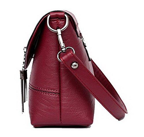 AgooLar Femme Tourisme Sacs fourre-tout Achats Cartable Sacs à bandoulière, GMBAB181703, Rouge Vineux Rouge Vineux