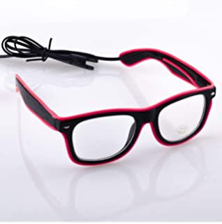 c019baaed8 Fronnor Light Up El Wire Glasses Rave Glow Glasses with DC-3V Sound Active  Driver