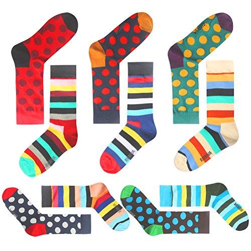 SoxAge Combed Cotton Formal Dress Men Trouser Mid Calf Crew Socks (US Men Size 10.5-14/EU 44.5-49, KQBSK06-dot striped)