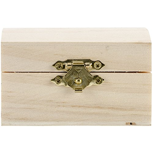 Darice Unfinished Wood Chest Box – Light Unfinished Wood with Curved Top and Clasp – Make Your Own Gift Box, Treasure Chest - Decorate with Paint, Stones, and More – ()