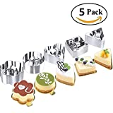Beneking Stainless Steel Cake Molds - Set of 5 Dessert Cake Mousse Mold Mini Baking Mold with Pusher Cake Rings for Desserts Making, Silver